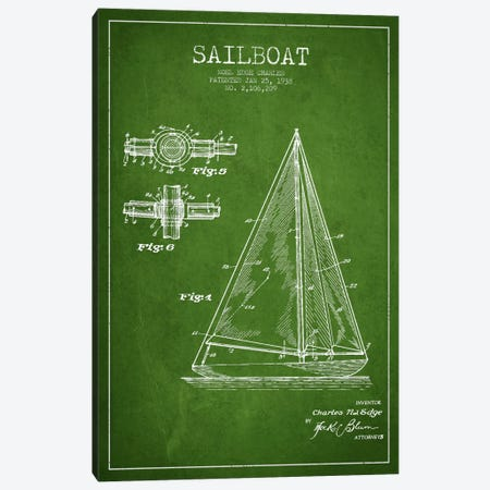 Sailboat Green Patent Blueprint Canvas Print #ADP2626} by Aged Pixel Canvas Print