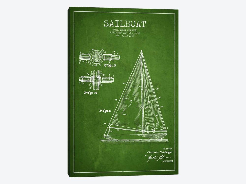Sailboat Green Patent Blueprint by Aged Pixel 1-piece Canvas Art