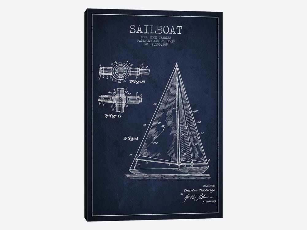 Sailboat Navy Blue Patent Blueprint 1-piece Art Print