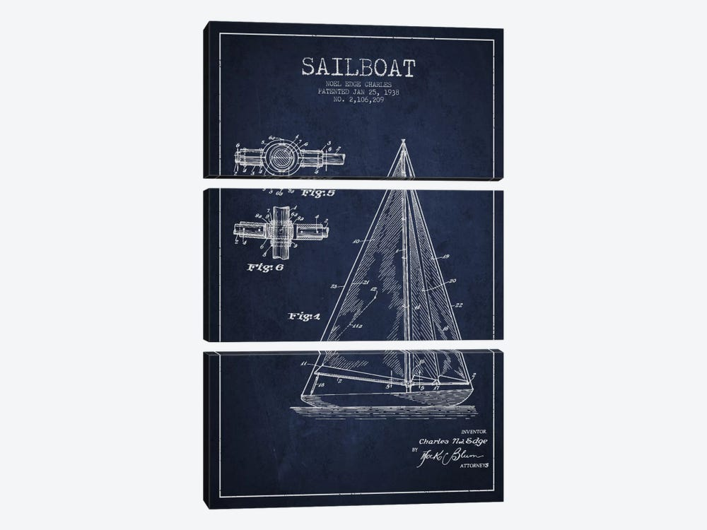 Sailboat Navy Blue Patent Blueprint by Aged Pixel 3-piece Art Print