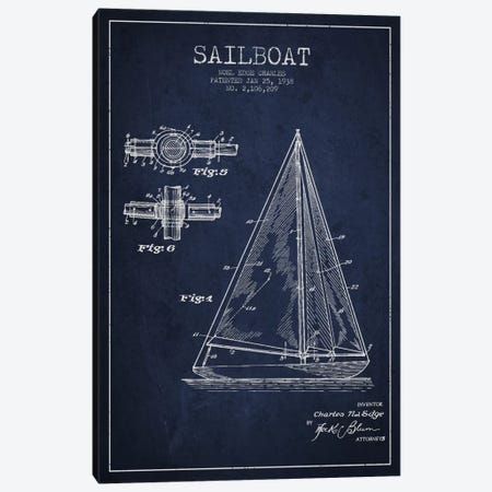 Sailboat Navy Blue Patent Blueprint Canvas Print #ADP2627} by Aged Pixel Canvas Art Print