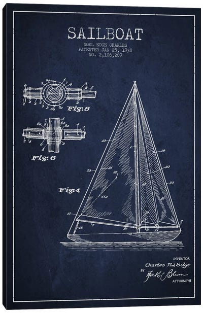 Sailboat Navy Blue Patent Blueprint Canvas Art Print