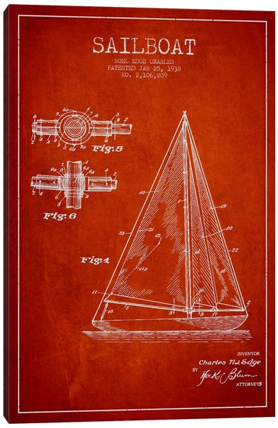 Sailboat Red Patent Blueprint Canvas Print #ADP2628