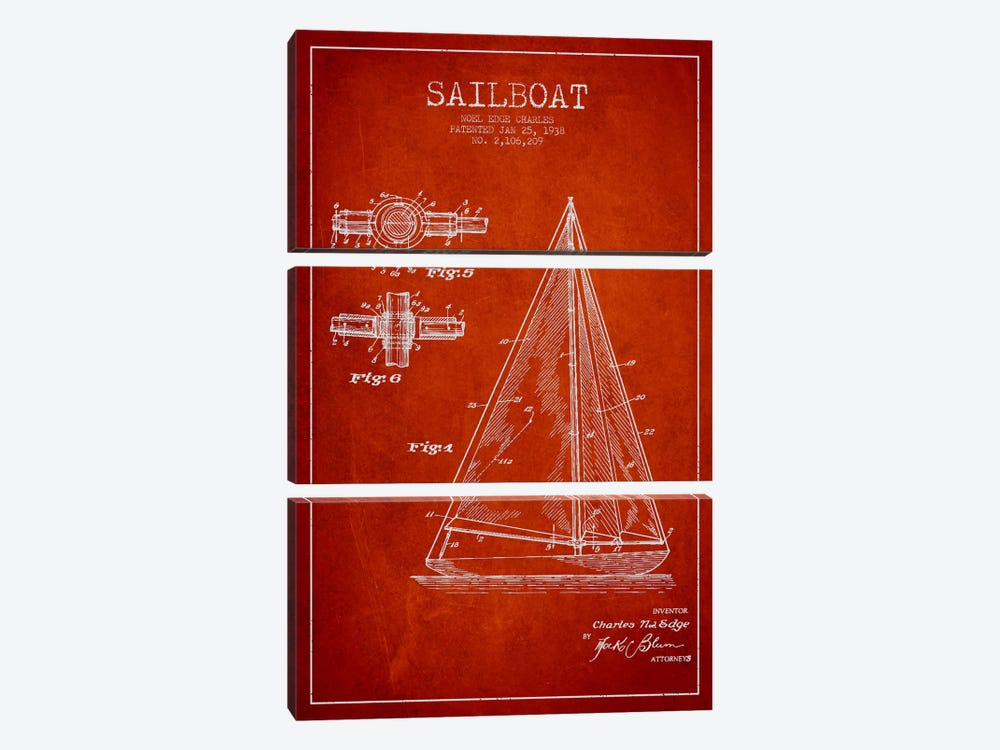 Sailboat Red Patent Blueprint by Aged Pixel 3-piece Canvas Wall Art