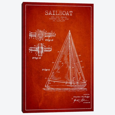 Sailboat Red Patent Blueprint Canvas Print #ADP2628} by Aged Pixel Canvas Art