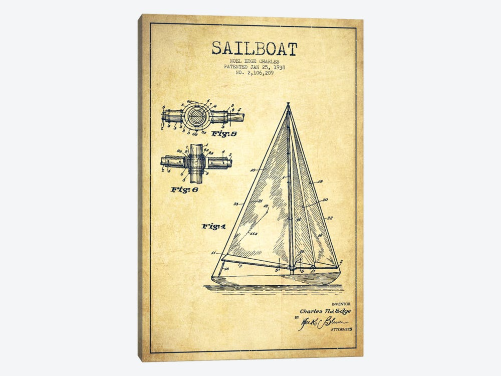 Sailboat Vintage Patent Blueprint by Aged Pixel 1-piece Canvas Print