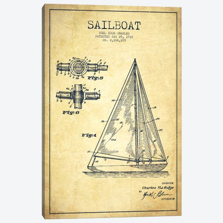 Sailboat Vintage Patent Blueprint Canvas Print #ADP2629} by Aged Pixel Canvas Wall Art