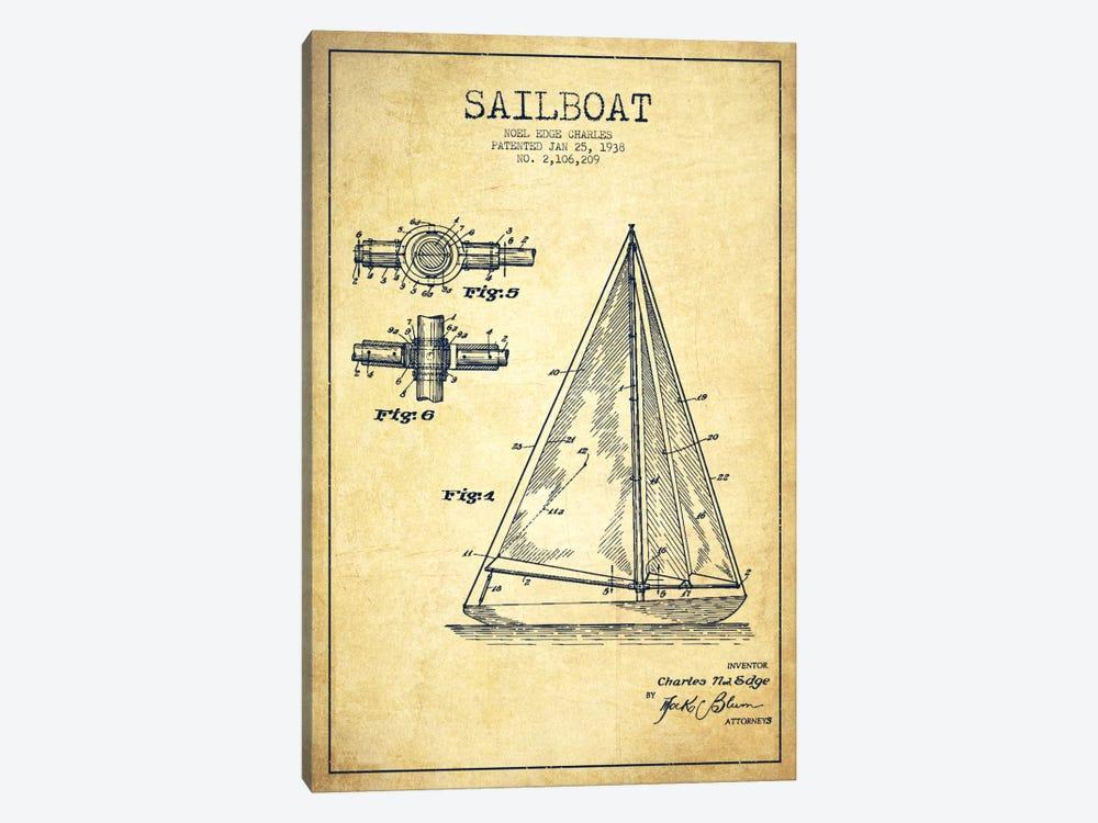 Sailboat Vintage Patent Blueprint by Aged Pixel 1-piece Canvas Print