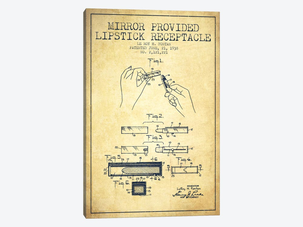 Mirror Provided Lipstick Vintage Patent Blueprint by Aged Pixel 1-piece Canvas Wall Art