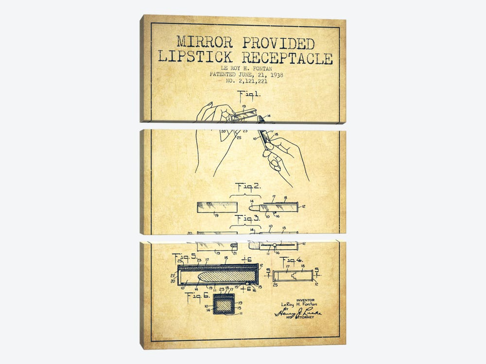 Mirror Provided Lipstick Vintage Patent Blueprint by Aged Pixel 3-piece Canvas Wall Art