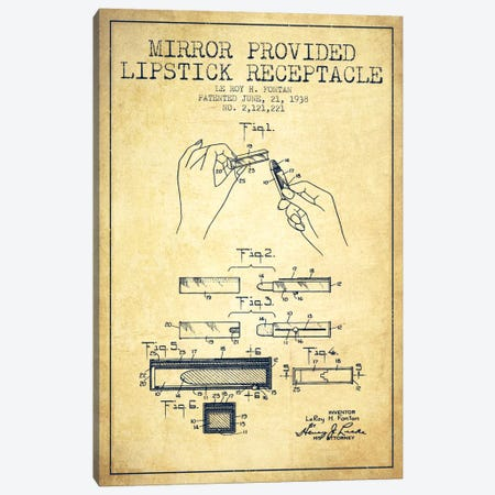 Mirror Provided Lipstick Vintage Patent Blueprint Canvas Print #ADP262} by Aged Pixel Canvas Art Print