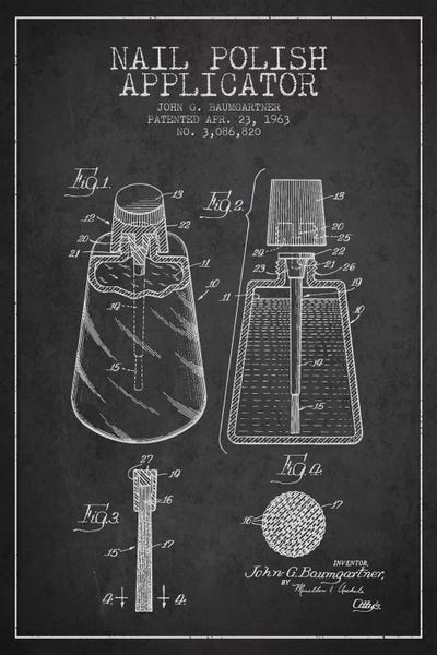 Nail polish applicator charcoal patent blueprint aged pixel canvas malvernweather Image collections