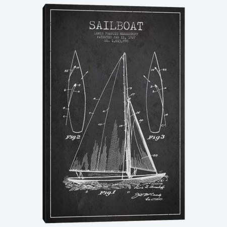 Sailboat Charcoal Patent Blueprint Canvas Print #ADP2630} by Aged Pixel Art Print