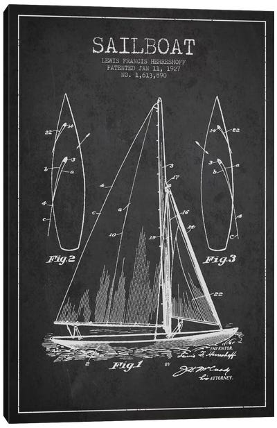 Sailboat Charcoal Patent Blueprint Canvas Print #ADP2630