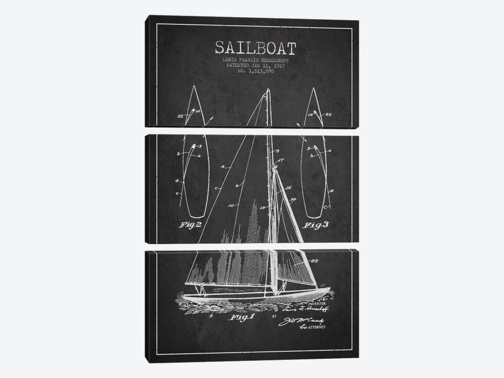 Sailboat Charcoal Patent Blueprint by Aged Pixel 3-piece Canvas Art Print