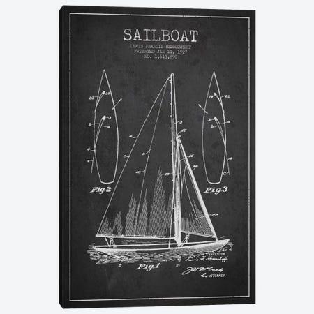Sailboat Charcoal Patent Blueprint Canvas Print #ADP2630} by Aged Pixel Art Print