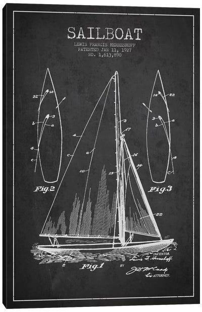 Sailboat Charcoal Patent Blueprint Canvas Art Print