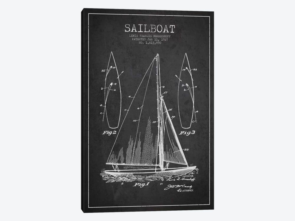 Sailboat Charcoal Patent Blueprint by Aged Pixel 1-piece Canvas Print