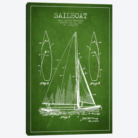 Sailboat Green Patent Blueprint Canvas Print #ADP2631} by Aged Pixel Art Print