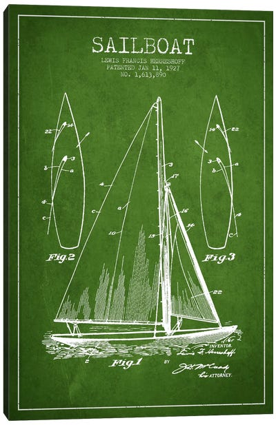 Sailboat Green Patent Blueprint Canvas Print #ADP2631