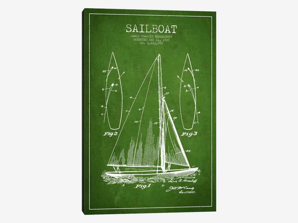 Sailboat Green Patent Blueprint by Aged Pixel 1-piece Canvas Wall Art