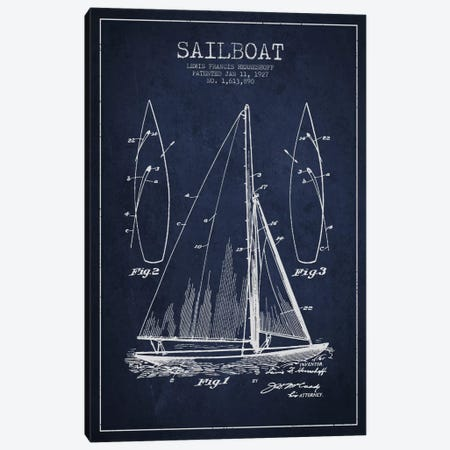 Sailboat Navy Blue Patent Blueprint Canvas Print #ADP2632} by Aged Pixel Art Print