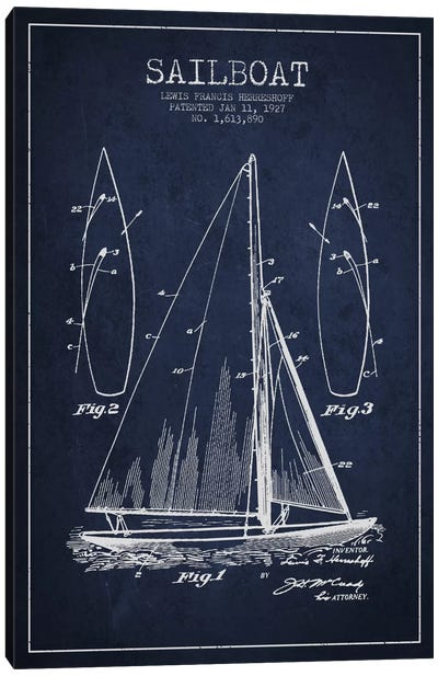 Sailboat Navy Blue Patent Blueprint Canvas Print #ADP2632