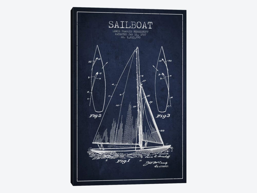 Sailboat Navy Blue Patent Blueprint by Aged Pixel 1-piece Art Print
