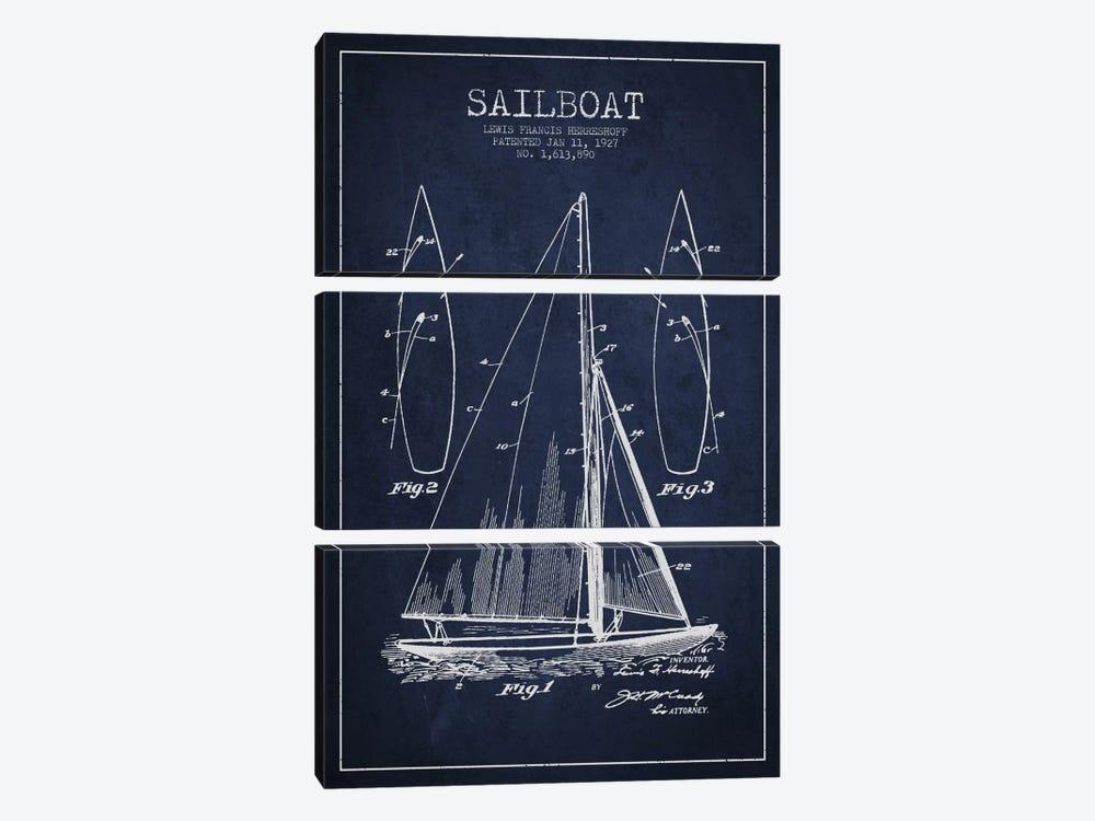 Sailboat Navy Blue Patent Blueprint by Aged Pixel 3-piece Canvas Art Print