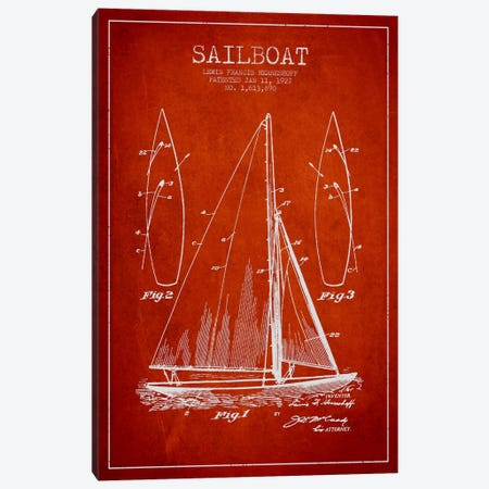 Sailboat Red Patent Blueprint Canvas Print #ADP2633} by Aged Pixel Canvas Art Print