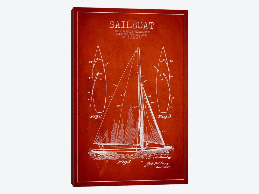 Sailboat Red Patent Blueprint by Aged Pixel 1-piece Canvas Wall Art