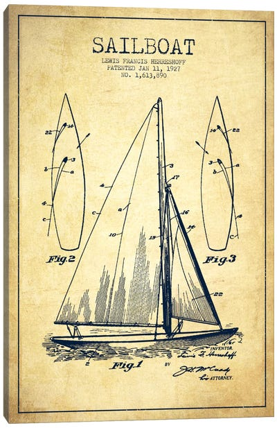 Sailboat Vintage Patent Blueprint Canvas Print #ADP2634
