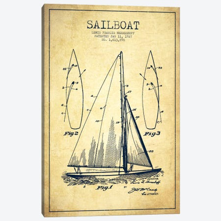 Sailboat Vintage Patent Blueprint Canvas Print #ADP2634} by Aged Pixel Canvas Art