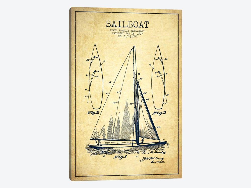 Sailboat Vintage Patent Blueprint by Aged Pixel 1-piece Canvas Art Print