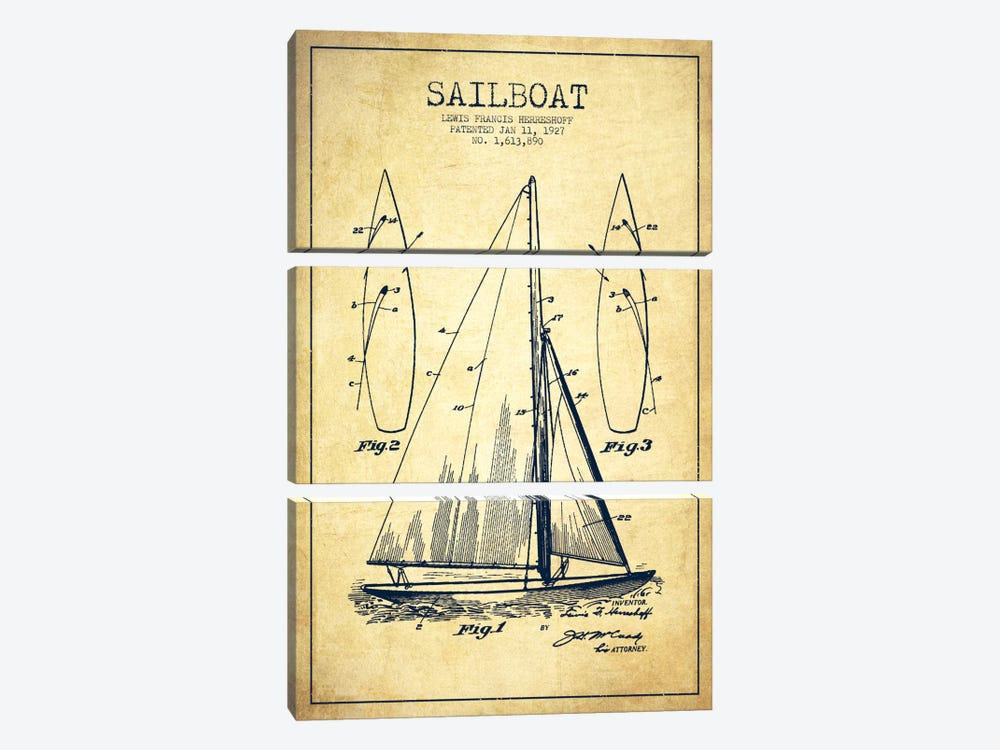 Sailboat Vintage Patent Blueprint by Aged Pixel 3-piece Art Print