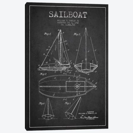 Sailboat Charcoal Patent Blueprint Canvas Print #ADP2635} by Aged Pixel Canvas Art