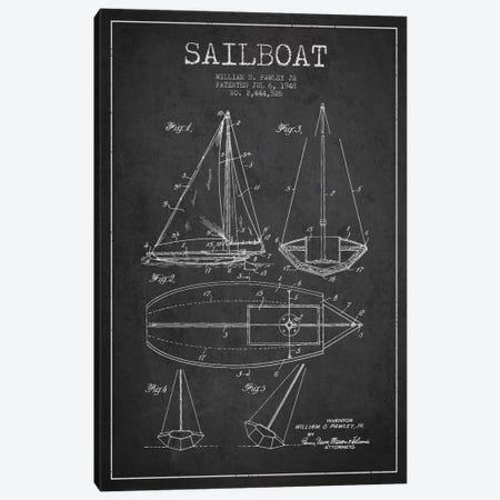Sailboat Charcoal Patent Blueprint Canvas Print #ADP2635} by Aged Pixel Canvas Art