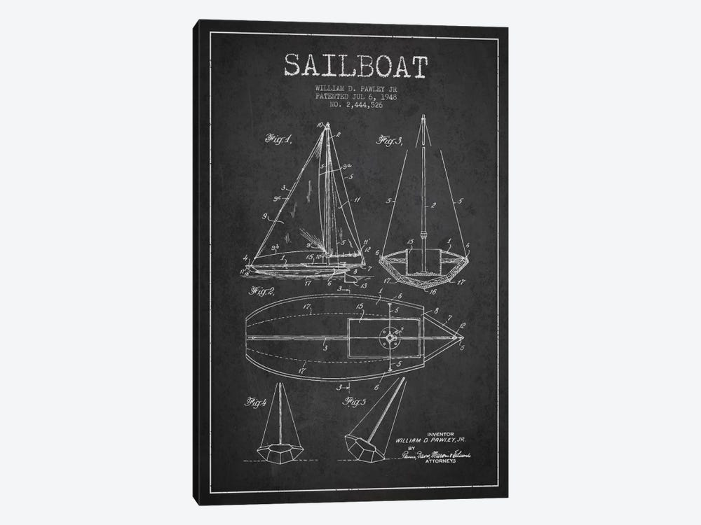 Sailboat Charcoal Patent Blueprint by Aged Pixel 1-piece Canvas Art