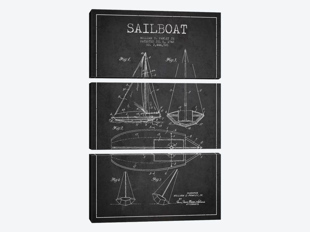 Sailboat Charcoal Patent Blueprint by Aged Pixel 3-piece Canvas Artwork