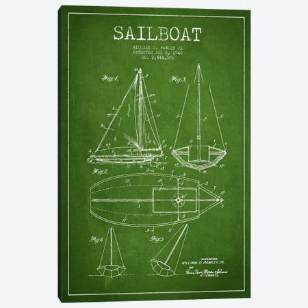 Sailboat Green Patent Blueprint Canvas Print #ADP2636} by Aged Pixel Canvas Art