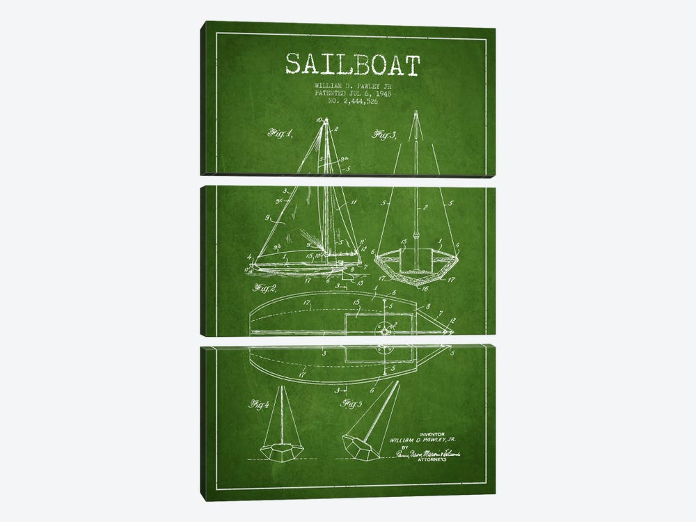 Sailboat Green Patent Blueprint by Aged Pixel 3-piece Art Print