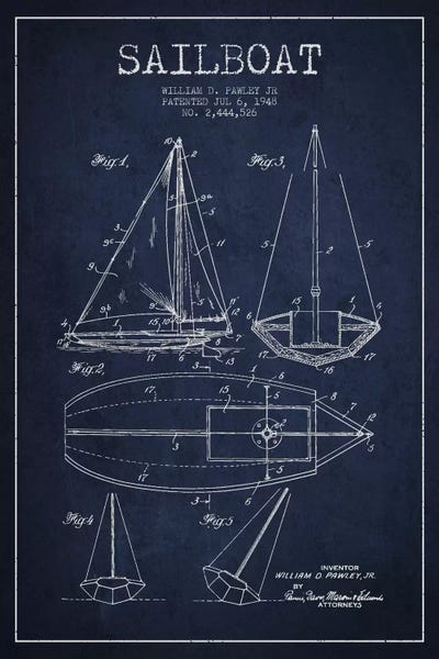 Sailboat navy blue patent blueprint art print by aged pixel icanvas malvernweather Gallery