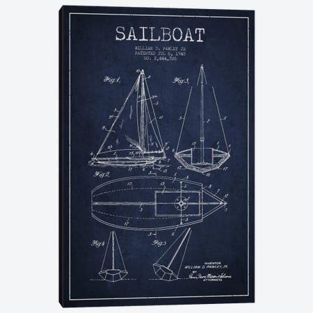Sailboat Navy Blue Patent Blueprint Canvas Print #ADP2637} by Aged Pixel Canvas Artwork