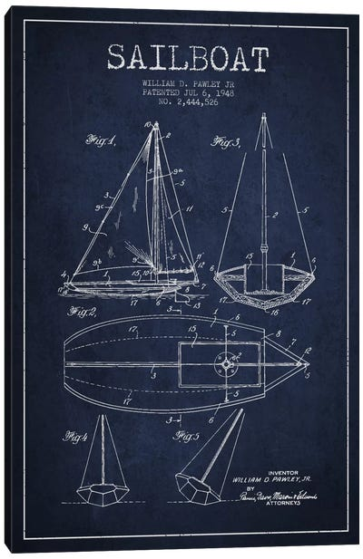 Sailboat Navy Blue Patent Blueprint Canvas Print #ADP2637