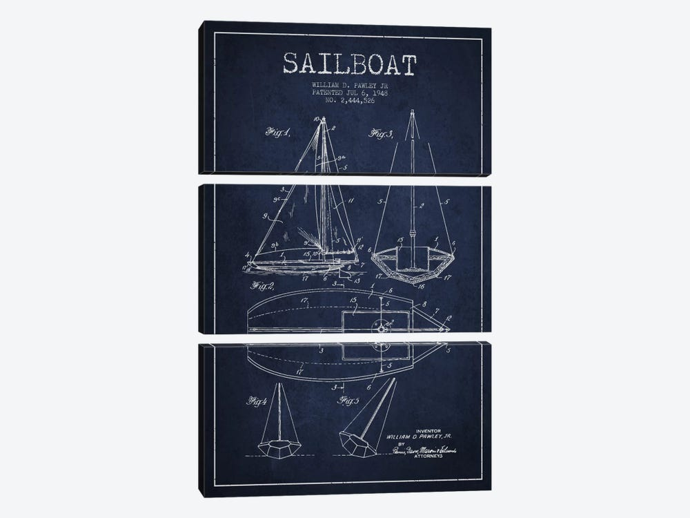 Sailboat Navy Blue Patent Blueprint by Aged Pixel 3-piece Canvas Art
