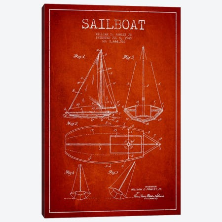 Sailboat Red Patent Blueprint Canvas Print #ADP2638} by Aged Pixel Art Print
