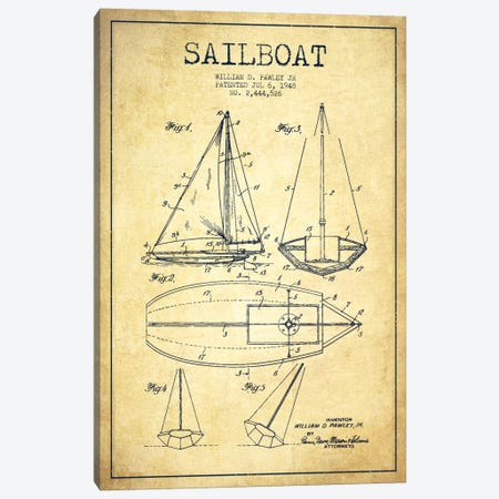 Sailboat Vintage Patent Blueprint Canvas Print #ADP2639} by Aged Pixel Canvas Print
