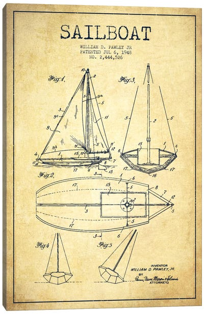 Sailboat Vintage Patent Blueprint Canvas Print #ADP2639