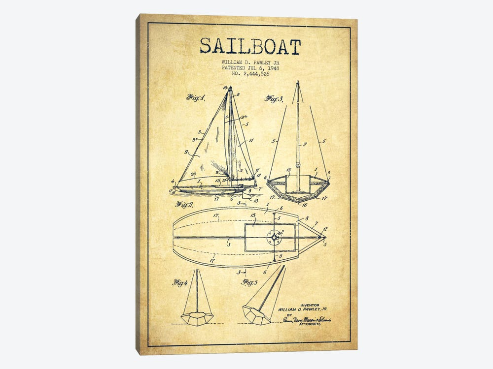 Sailboat Vintage Patent Blueprint by Aged Pixel 1-piece Canvas Artwork