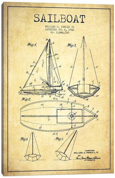 Sailboat Vintage Patent Blueprint Canvas Art Print